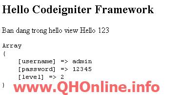codeigniter framework demo view